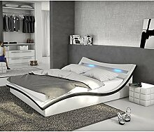 Polster-Bett 140x200 cm weiß-schwarz aus Kunstleder mit LED-Beleuchtung | Magari | Das Kunst-Leder-Bett ist ein Designer-Bett | Doppel-Betten 140 cm x 200 cm mit Lattenrost in Leder-Optik, Made in EU