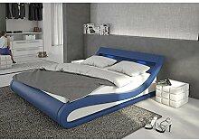 Polster-Bett 180x200 cm blau aus Kunstleder mit blauer LED-Beleuchtung | Bellugia | Das Kunst-Leder-Bett ist ein edles Designer-Bett | Doppel-Bett 180 cm x 200 cm mit Lattenrost in Leder-Optik, Made in EU