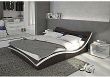 Polster-Bett 180x200 cm braun aus Kunstleder mit blauer LED-Beleuchtung | Magari | Das Kunst-Leder-Bett ist ein edles Designer-Bett | Doppel-Bett 180 cm x 200 cm mit Lattenrost in Leder-Optik, Made in EU
