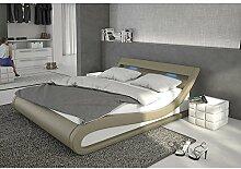Polster-Bett 180x200 cm cappuccino aus Kunstleder mit blauer LED-Beleuchtung | Bellugia | Das Kunst-Leder-Bett ist ein edles Designer-Bett | Doppel-Bett 180 cm x 200 cm mit Lattenrost in Leder-Optik, Made in EU