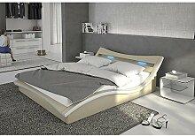 Polster-Bett 180x200 cm creme aus Kunstleder mit blauer LED-Beleuchtung | Magari | Das Kunst-Leder-Bett ist ein edles Designer-Bett | Doppel-Bett 180 cm x 200 cm mit Lattenrost in Leder-Optik, Made in EU