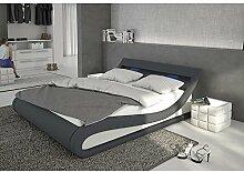 Polster-Bett 180x200 cm dunkelgrau-weiß aus Stoff und Kunstleder Kombi mit LED-Beleuchtung   Bellugia   Das Stoff-Bett ist ein Designer-Bett   Doppel-Betten 180 cm x 200 cm mit Lattenrost in Textil, Made in EU