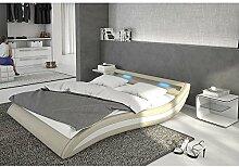Polster-Bett 180x200 cm hellgrau-weiß aus Kunstleder mit blauer LED-Beleuchtung | Accentox | Das Kunst-Leder-Bett ist ein edles Designer-Bett | Doppel-Bett 180 cm x 200 cm mit Lattenrost in Leder-Optik, Made in EU
