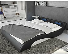 Polster-Bett 180x200 cm schwarz-weiß aus Kunstleder mit blauer LED-Beleuchtung | Mavani | Das Kunst-Leder-Bett ist ein edles Designer-Bett | Doppel-Bett 180 cm x 200 cm mit Lattenrost in Leder-Optik, Made in EU