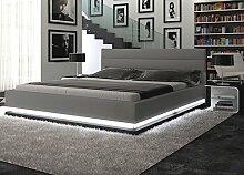 Polster-Bett 200x220 cm grau aus Kunstleder mit