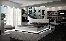 Polster-Bett 200x220 cm weiß aus Kunstleder mit