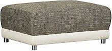 Polster Hocker ohne Federkern / Moderner Sitzhocker für Ecksofa / Mit Strukturstoff und Kunstleder in Grau-Weiß / 99 x 69 x 41 cm (B x T x H)