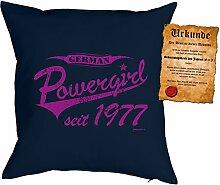 Polster zum 40. Geburtstag Geschenkidee Kissen mit Füllung German Powergirl seit 1977 Kissen zum 40 Geburtstag für 40-jährige Dekokissen mit Urkunde