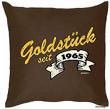 Polster zum Geburtstags Geschenkidee Kissen mit Füllung Goldstück seit 1965 Geschenk zum 52 Geburtstag Geburtstag 52. Geburtstag 52 Jahre Mitbringsel