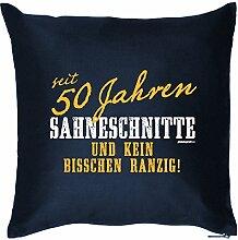 Polster zum Geburtstags Geschenkidee Kissen mit Füllung seit 50 Jahren Sahneschnitte und kein Bisschen Ranzig! 50 Jahre Mitbringsel Geburtstag 50 Jahre
