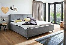 Polsterbett 200x200 l Stoffbezug Grau l Bettkasten