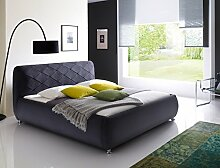 Polsterbett Antoni Bett 180x200 cm anthrazit Bezugstoff Doppelbett Designerbett Schlafzimmer