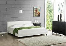 Polsterbett Barcelona Kunstleder 180x200 cm Weiß