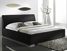 Polsterbett Bett Albero Comfort schwarz Kunstleder Ehebett Bett Doppelbett Bettgestell Kunstleder , Größe:160 x 200