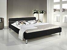 Polsterbett Bett Altair schwarz Kunstleder Ehebett Bett Doppelbett Bettgestell Kunstleder , Größe:100 x 200
