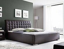Polsterbett Bett Ishan Comfort braun Kunstleder Doppelbett Ehebett Bett Bettgestell Kunstleder, Größe:140 x 200