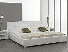 Polsterbett Bett Ishan weiß Kunstleder Doppelbett Ehebett Bett Bettgestell Kunstleder, Größe:180 x 200