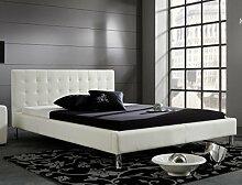 Polsterbett Bett Job weiß Kunstleder Ehebett Bett Doppelbett Bettgestell Kunstleder , Größe:160 x 200