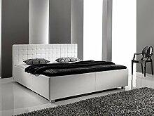 Polsterbett Bett Myles III weiß Kunstleder Kopfteil gesteppt Doppelbett Bettgestell Kunstleder, Größe:180 x 200