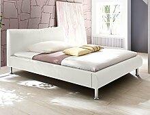 Polsterbett Bett Rina weiß Kunstleder Ehebett Bett Doppelbett Bettgestell Kunstleder , Liegefläche:120 x 200 cm