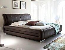 Polsterbett Bett Zorro braun Kunstleder Ehebett Bett Bettgestell Doppelbett Kunstleder, Liegefläche:180 x 200 cm