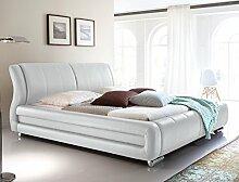 Polsterbett Bett Zorro weiß Kunstleder Ehebett Bett Doppelbett Bettgestell Kunstleder , Liegefläche:160 x 200 cm