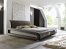 Polsterbett braun Bett 160x200 Bettgestell Kunstlederbett Singlebett Doppelbett Designerbett Blain