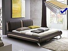 Polsterbett braun komplett Bett 160x200 + Lattenrost + Matratzen Singlebett Designerbett Malin