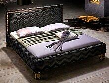 Polsterbett Casadero Bett 180x200cm schwarz Stoffbezug Doppelbett Ehebett Designerbett Gästebe