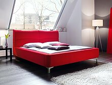 Polsterbett Cloude Bett 160x200 cm Stoffbezug rot Doppelbett Ehebett Designerbett Schlafzimmer