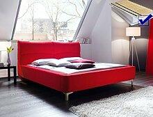 Polsterbett Cloude Bett 180x200 cm Stoffbezug rot