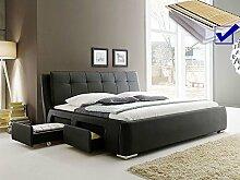 Polsterbett schwarz Bett 160x200 + Lattenrost + Matratze + Schubkasten Doppelbett Designerbett Alvaro