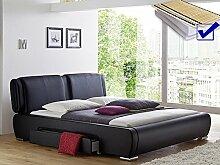 Polsterbett schwarz Bett 180x200 cm + Lattenrost +