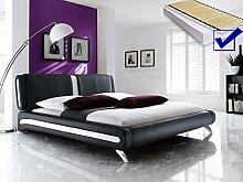 Polsterbett schwarz komplett Bett 140x200 + Lattenrost + Matratzen Singlebett Designerbett Malin