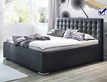 Polsterbett Toni 180x200 Kunstleder schwarz Bettkasten Lattenrost Futonbett Bett Schlafzimmer Gästezimmer