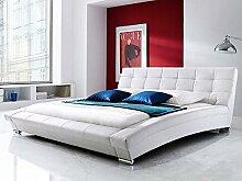 Polsterbett weiß Bett 180x200 Kunstleder Bettgestell Kunstlederbett Designerbett Emilo