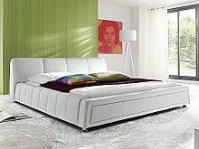 Polsterbett weiss Bett 180x200 Kunstleder Bettgestell Kunstlederbett Doppelbett Designerbett Aron