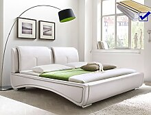 Polsterbett weiß Bett 180x200 + Lattenrost +