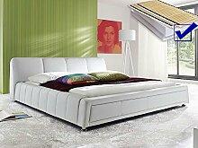 Polsterbett weiss Bett 180x200 + Lattenrost + Matratze Kunstlederbett Doppelbett Designerbett Aron