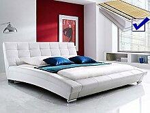 Polsterbett weiss komplett Bett 180x200 + Matratze