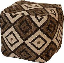 Polsterhocker / Sitzwürfel mit Kelim Muster Quadrat aus Wolle, handgewebt 40x40x40cm - Weiss, Grau, Schwarz (007)