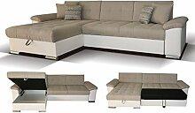 Polstermöbel Aquilino mit Staukasten und Bettfunktion – Abmessungen: 295 x 168 cm (L x B) - Ottomane: Rechts