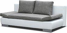 Polstermöbel Leandro in grau / weiß mit Bettfunktion und Staukasten – Abmessungen: 203 x 95 cm (L x B)