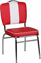 Polsterstuhl in Rot Weiß Retro