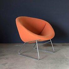 Polsterstuhl mit Orangenfarbenen Bezug, 1960er