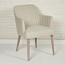 Polsterstuhl Stoffsessel für Wohnzimmer und Esszimmer - Sitzmöbel Lounge Designer Sessel in beige mit Armlehnen