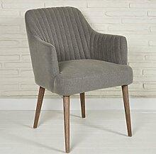 Polsterstuhl Stoffsessel für Wohnzimmer und Esszimmer - Sitzmöbel Lounge Designer Sessel in grau mit Armlehnen