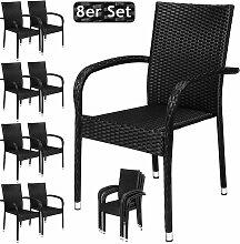 Poly Rattan 8er Set Gartenstuhl Hochlehner mit