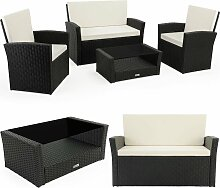 Poly Rattan Lounge Set 7cm Auflagen 2 Sessel Bank