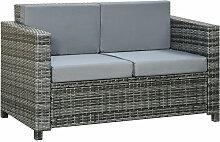 ® Poly-Rattan Sofa mit Kissen 2-Sitzer Garten